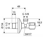 Rohový ventil SCHELL 1/2 x 3/8 bez matky